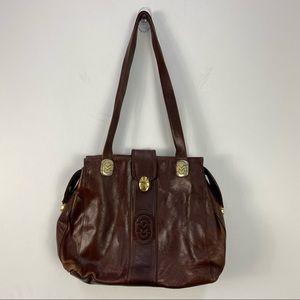VTG Marino Orlandi Brown Leather Gold Clutch Shoulder Bag